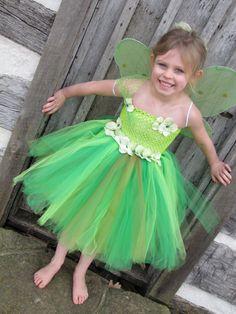 Tinker Bell Halloween Xmas White Top Kelly Green Satin Trim Skirt Girl Set NB-8Y