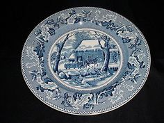 Johnson Bros Blue Wht Transferware Historic America 10.5 Service Charger Plate
