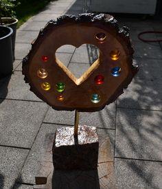 Sonnenfänger mit Herz auf Granitstein - Birke