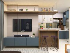 """873 curtidas, 27 comentários - Arquiteto Otávio Mendes (@arquitetootaviomendes) no Instagram: """"Mais um pouco desse apê liiiindo!! 💙 Utilizamos a mesma combinação de cores da cozinha na sala.…"""" Condo Interior Design, Small Apartment Interior, Studio Apartment Decorating, Home Room Design, House Design, Tv Stand Room Divider, Small Kitchen Solutions, Home And Deco, Living Room Kitchen"""