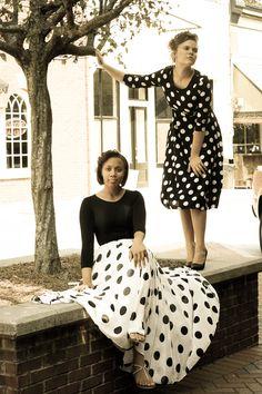 "Polka Dot chiffon long skirt and ""lily"" polka dot fit and flare vintage style dress"