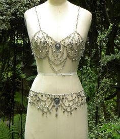 Burlesque Tribal Bellydance Silver chain Bra & Belt by ericasbeadgallery