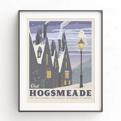 Hogsmeade village. Retro travel poster. Harry by TheSeventhArtShop