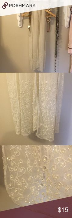 Evening wrap Ivory sheer see through beaded evening wrap! Perfect for a Wedding, Bride, Bridesmaid, Mother of the Bride, or any occasion etc...... Beading finishes all the edges all the way around the wrap and it looks gorgeous!! Accessories Scarves & Wraps