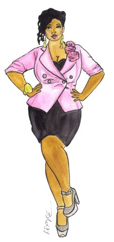 My plus size fashion illustration rocks a cool pink blazer and a great little black dress. Take notes on going from day to night, ladies.