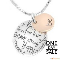 """Today Only! 6% OFF this item. Follow us on Pinterest to be the first to see our exciting Daily Deals.  Today's Product: Sale -  Two-Tone """"Be"""" Graffiti Inspirational Charm Necklace Silver Rose Gold Plated Pendant Necklace.  Buy now: http://www.barbaracute.com/products/two-tone-be-graffiti-inspirational-charm-necklace-silver-rose-gold-plated-pendant-necklace-1"""