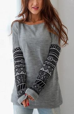 Long Sleeves Printed Sweatshirts Casual Pullover