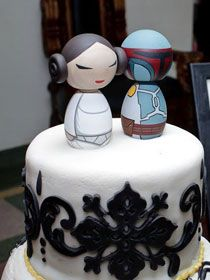 Star Wars Cake Toppers - except I'd have Hello Kitty and he's have Boba Fett
