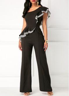 Black One Shoulder Ruffle Overlay High Waist Jumpsuit Asos Jumpsuit, Jumpsuit Dressy, Black Jumpsuit, Sparkly Jumpsuit, Strapless Jumpsuit, Look Fashion, Fashion Outfits, Womens Fashion, Fashion Design