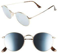 Women's Ray-Ban 50Mm Round Sunglasses - Gold/ Blue $175 https://www.thesterlingsilver.com/product/miu-miu-sonnenbrille-mu-50ss/