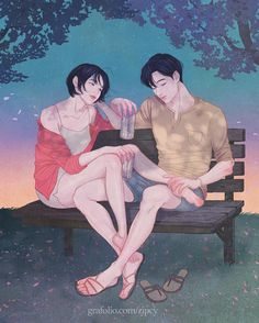 A Korean Artist Create These Tender Illustrations For Love Couples Cute Couple Drawings, Cute Couple Art, Anime Love Couple, Anime Couples Drawings, Love Drawings, Cute Couples, Art Drawings, Sweet Couple, Beautiful Couple