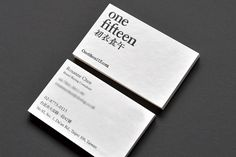Business cards for One Fifteen designed by Onion Design Associates.