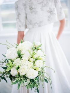 Elegant all-white rose bouquet: http://www.stylemepretty.com/australia-weddings/new-south-wales-au/2015/10/05/romantic-elegant-garden-wedding-inspiration/ | Photography: We Are Origami - http://weareorigami.com.au/