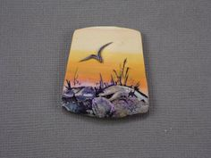 Handmade Polymer Clay Statement Focal Pendant Bead-35 x 38 mm-Panorama-Sunset on Golden Pond-Beach Themed-Yellow,Orange,White-PA 8438 by StudioStJames on Etsy