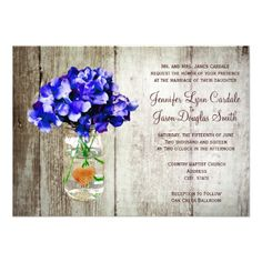 Blue Hydrangea Mason Jar Wedding Invitations
