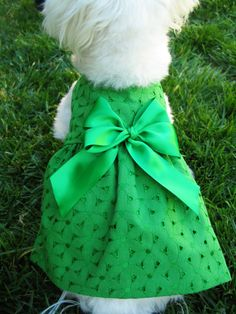 Green Dog Dress with Satin Bow - Green Cotton Eyelet Dog Dress - Spring Pet Clothes