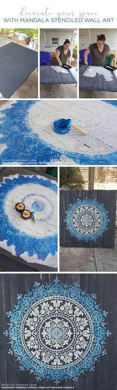 Cutting Edge Stencils shares how to stencil DIY reclaimed wood wall art using a Mandala Stencil pattern. http://www.cuttingedgestencils.com/prosperity-mandala-stencil-yoga-mandala-stencils-designs.html