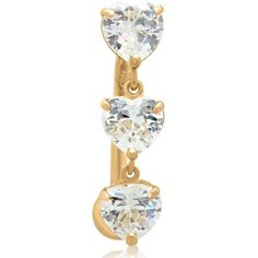 Gioelli 10k Yellow Gold Cubic Zirconia 3-heart Dangle Belly Ring ($123) ❤ liked on Polyvore featuring jewelry, white, polish jewelry, yellow gold jewelry, gold jewelry, cz jewellery and cubic zirconia jewelry