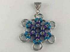 Snowflake Christmas Winter Chainmaille Pendant