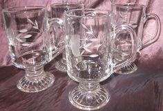 4 Princess House Heritage foot Hot/cold Beverage glass $55.76