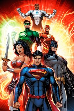 DC COMICS, justice league  Superman, Batman, Wonder Woman, Flash, Green Lantern, Aquaman