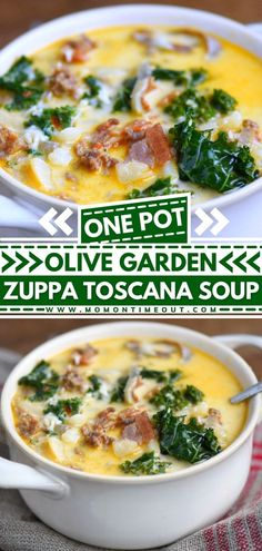 One-Pot Olive Garden Zuppa Toscana Soup is loaded with bacon, sausage, potatoes, and kale. This homemade comfort food is so delicious and filling. This homemade copycat Olive Garden recipe is the best! Pin this easy dinner recipe!
