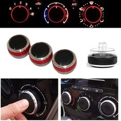 Car Styling 3pcs Air Conditioning Heat Control Switch Knob Knobs For FORD FOCUS 2 MK2 Focus 3 MK3 Mondeo AC Knob