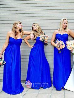 Royal blue chiffon strapless empire waist simple A line long bridesmaid  dresses Empire Waist Bridesmaid Dresses 4a71cb1ab382