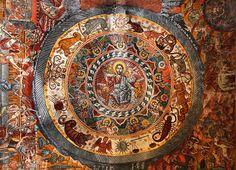 This photo from Lakonia, Peloponnesus is titled 'Jesus Christ & the Zodiac Circle'. Fresco, Zodiac Circle, Art Roman, Sun Worship, Masonic Symbols, Medieval Manuscript, Baphomet, Orthodox Icons, Tempera