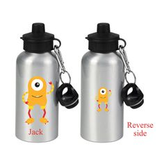 Personalised Kids water bottle, Personalized drinks bottle, party favors, Kids water bottle, monster design, printed both sides by cjcprint on Etsy
