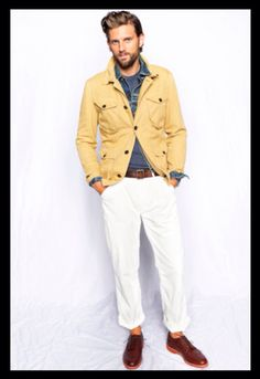 Yellow and Faded Blue Layered Denim Jackets, White Jeans, and Oxblood loafers. Men's Spring Summer Fashion.