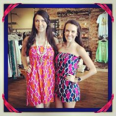 Our favorite #seahorse print in a romper & strapless dress by Escapada!!! from Ivy boutique! 228-354-8499! @ivyboutiquems on Instagram or Facebook.com
