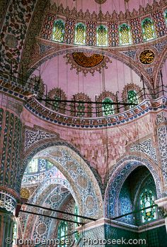 Sultanahmet (or Blue) Mosque interior and ceiling. Built 1609-1616 in Istanbul, Turkey #architecture #travel