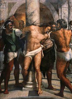 Sebastiano Del Piombo, flagellation du Christ, 1516-1524, peinture murale à l'huile, san pietro in montorio, rome