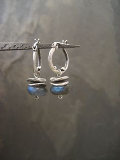 Labradorite earrings, labradorite hoops, dangle labradorite, small hoops, blue flash, labradorite posts, silver hoops, gemstone hoops by ElfiRoose on Etsy https://www.etsy.com/listing/215054373/labradorite-earrings-labradorite-hoops