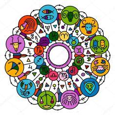 Zvířetníkové kolečko s astrologickým známkami pro váš design Astrology Signs, Illustration, Cards, Design, Posters, Astrology, Poster, Illustrations