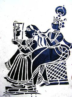Krishna combs Radha's hair as she gazes into a mirror. Mughal Paintings, Indian Art Paintings, Krishna Painting, Krishna Art, Stencil Art, Stencils, Indian Contemporary Art, Cut Out Art, Doodle Art Designs