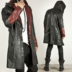 NewStylish - BLACK/RED CONTRAST LEATHER HOOD LONG COAT - 52