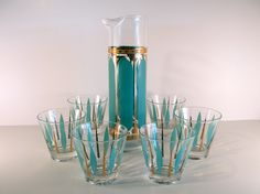 Mad Men Martini Decanter and Glasses in Turquoise and Gold. $75.00, via Etsy.