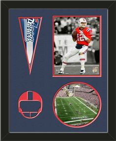 Two framed 8 x 10 inch New England Patriots photos of Tom Brady (including one VERTICAL photo at the top and one HORIZONTAL photo framed in an oval) with a New England Patriots mini pennant, double matted in team colors to 16 x 20 inches.  Includes a football helmet which is cut into the top mat and shows the bottom mat color.  The oval photo will be cropped to fit.  (Pennant design subject to change)  $89.99 @ ArtandMore.com