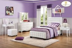 Adorable Purple White Theme Love The Upholstered Bed Furniture By Homelegance Available