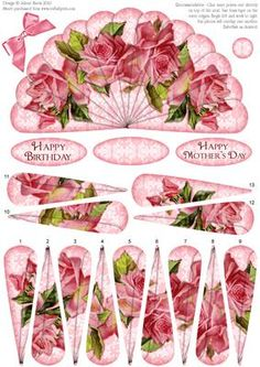 "Pink Roses Fan Sheet on Craftsuprint designed by Julene Harris - This lovely fan has decoupage fan elements that overlap one another to create a beautiful image of pink roses. Fan panels are numbered in order. This sheet could be used to make two cards, or layer elements onto main image to create one card. Included labels: ""Happy Birthday"", ""Happy Mother's Day"", and one blank label you can customize for any occasion. Embellish with ribbon, rhinestones, glitter, etc. as desired. Please click…"