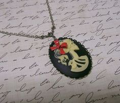 Gothic Lolita Skeleton Girl Cameo necklace by ConnorInspiresAmy, $16.50