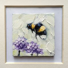 """Bumblebee painting, Tiny original impressionistic oil painting of a whimsical Bumblebee, 2x2"""" on panel. *pre-order by LaveryART on Etsy"""