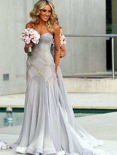 Bridesmaid-scallop gown / J'Aton