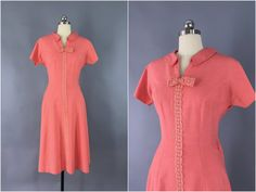 Vintage 1960s Dress / 60s Day Dress / 1960 Coral Pink Silk Linen / Fit and Flare Dress