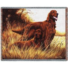 """Artwork by world renowned animal artist, Robert May. 53"""" width x 70"""" length Jacquard woven cotton art tapestry. Not a print. Fringed. Made in the USA. If not in stock, please allow up to 4 weeks for p"""