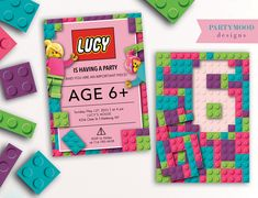 7th Birthday Party For Girls, Girls Lego Party, Lego Friends Birthday, Lego Girls, Lego Birthday Party, Birthday Stuff, Birthday Ideas, Lego Birthday Invitations, Lego Themed Party