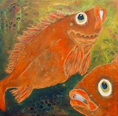 Doo it - just doo it: Malerier - rødfisk fra havets dyb (redfisk II, acrylics, crayons, tusch, 30 x 30 cm)