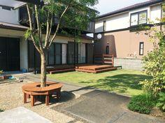 ウッドデッキ / 円形ベンチ / ナチュラルガーデン / ガーデンデザイン / 外構 Garden Design / Deck / Original bench